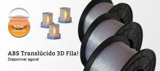 Novidade Filamento ABS Translúcido Cristal Quartzo
