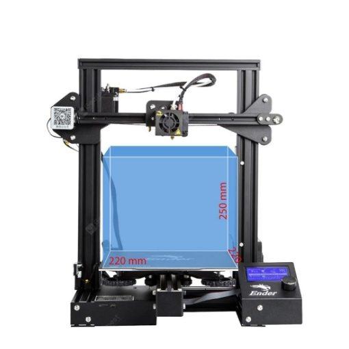 Imagem da impressora 3D Ender 3 com o seu volume de 310 x 310 x 305 mm demarcados no seu interior