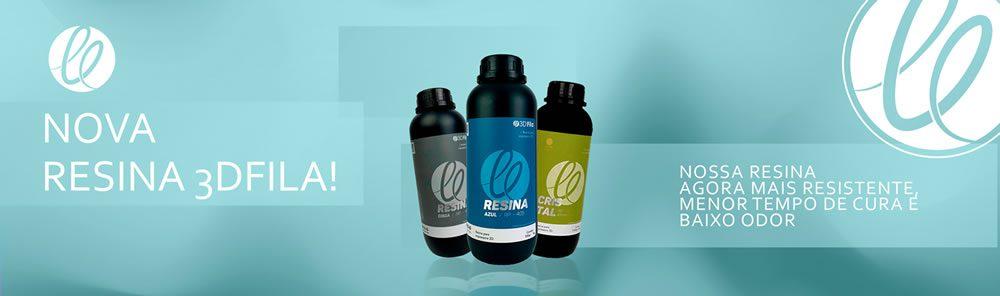 Imagem ilustra 3 garrafas de resina 3d para impressora informando sobre nova fórmula