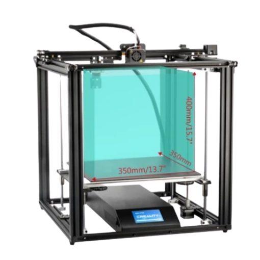 Imagem da impressora 3D Ender 5 Plus com o seu volume de 310 x 310 x 305 mm demarcados no seu interior