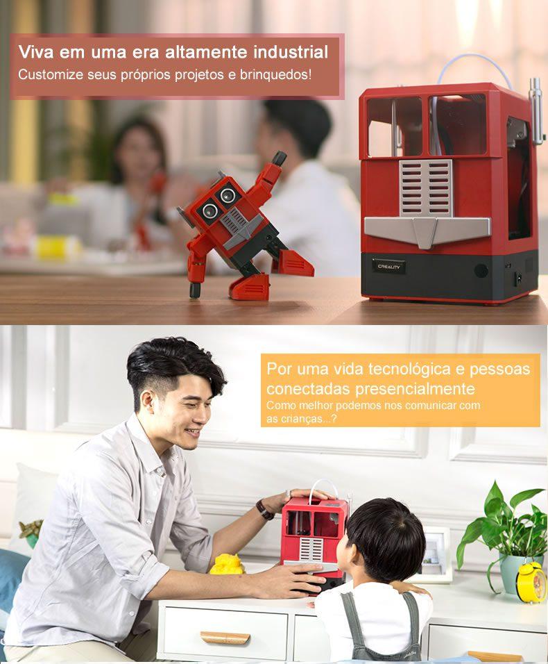 imagem que mostra a impressora 3d cr-100 em contato com jovens e informando que é preciso gerar o interesse das crianças pelo assunto