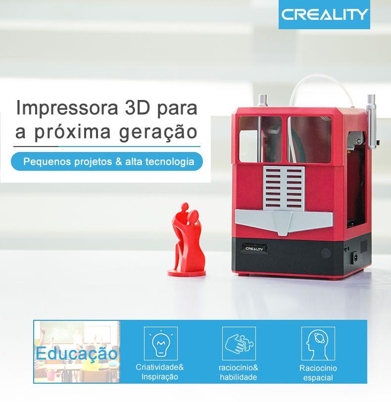 Imagem com apelo de marketing para Impressora 3D CR-100 demonstrando que ela é indicada para uso na educação