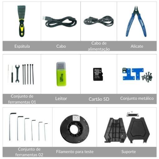 Imagem do conjunto de ferramentas do Kit da impressora LK1