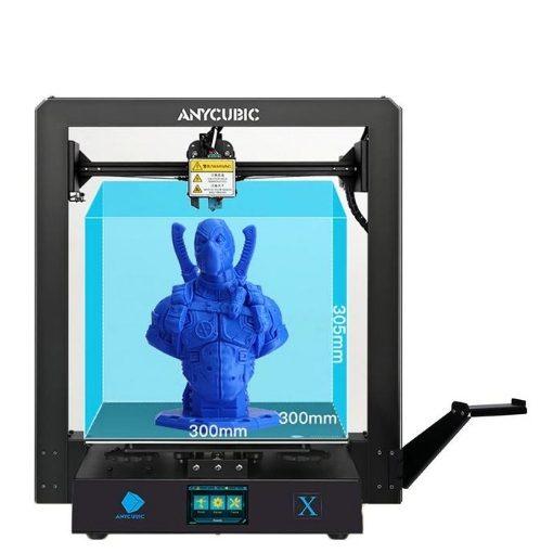 Imagem da impressora 3D Anycubic Mega X com o seu volume de 310 x 310 x 305 mm demarcados no seu interior