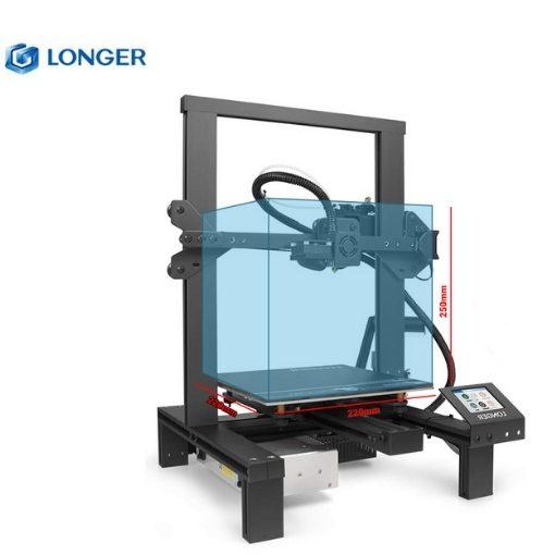 Imagem da impressora 3D Longer LK4 com o seu volume de 310 x 310 x 305 mm demarcados no seu interior