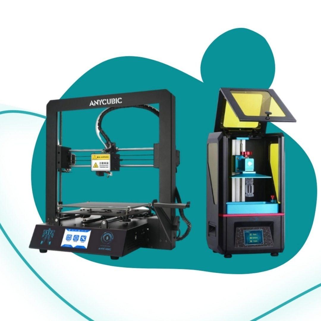 Foto de uma impressora FDM e uma SLA para abrir os guias de impressão