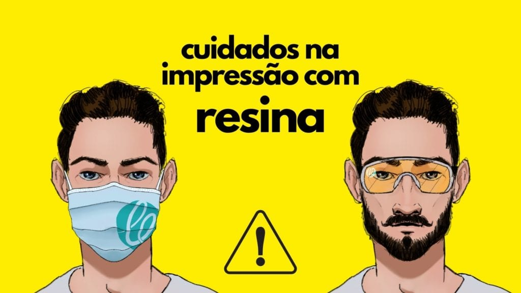 Cabeça de duas pessoas, uma usando óculos, outra usando máscara,, representando o uso de equipamentos de proteção para imprimir com resina