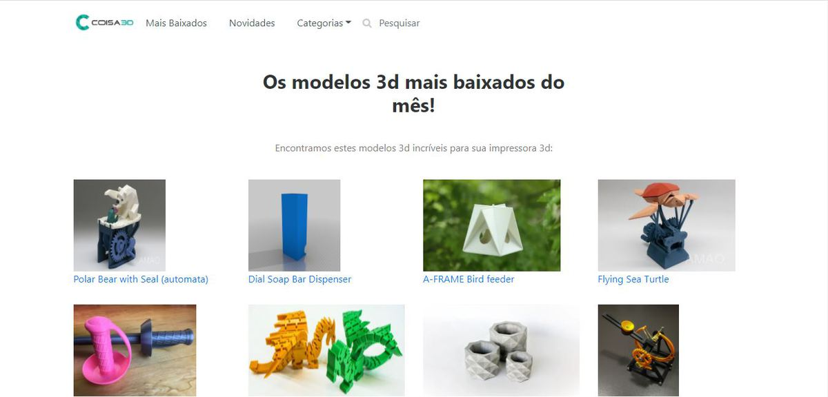 Interface do site Coisa 3D