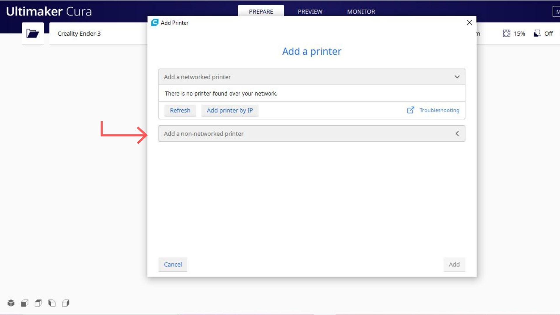 A foto é referente ao software cura no passo a passo para selecionar a impressora escolhida. Busque a impressora de acordo com a marca e o modelo.