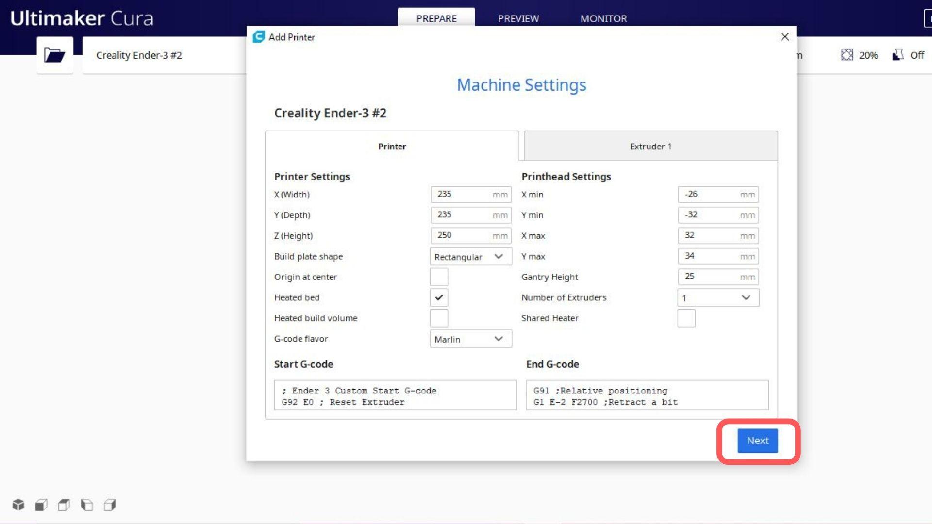 A foto é referente ao software cura no passo a passo para selecionar a impressora escolhida. Aceite os fatores vindos de fábrica.