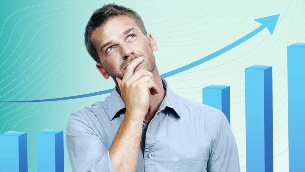 Homem pensando investimento
