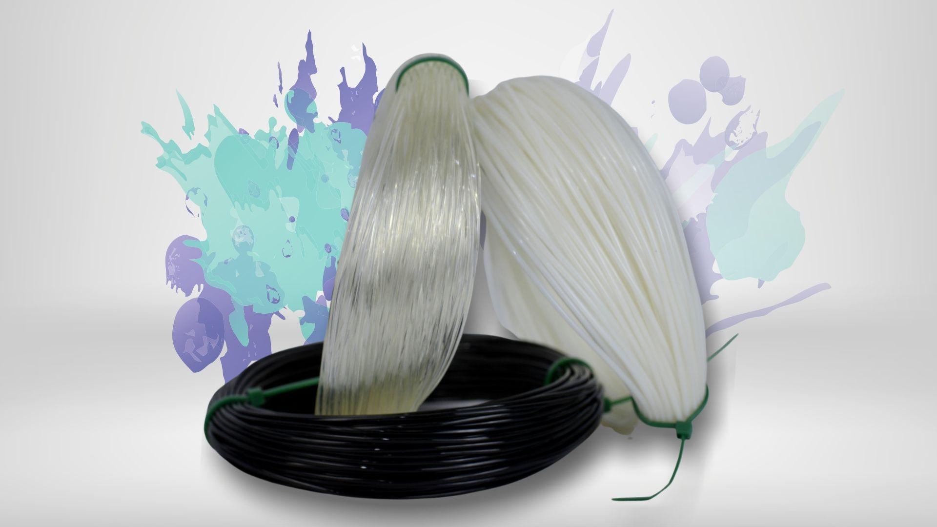 Foto das cores disponíveis para o filamento flexível