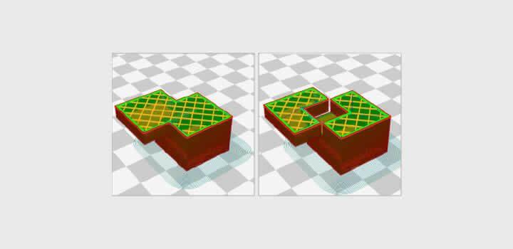 Foto da tela do software de fatiamento 3d Cura mostrando interseção de objetos antes e depois de consertar.