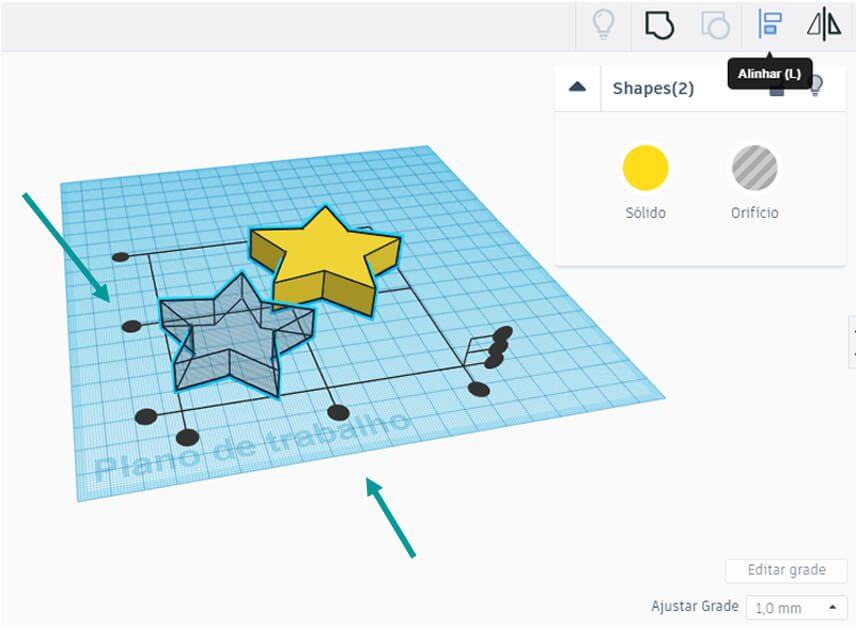 Demonstração de como fazer o alinhamento entre dois objetos no Tinkercad