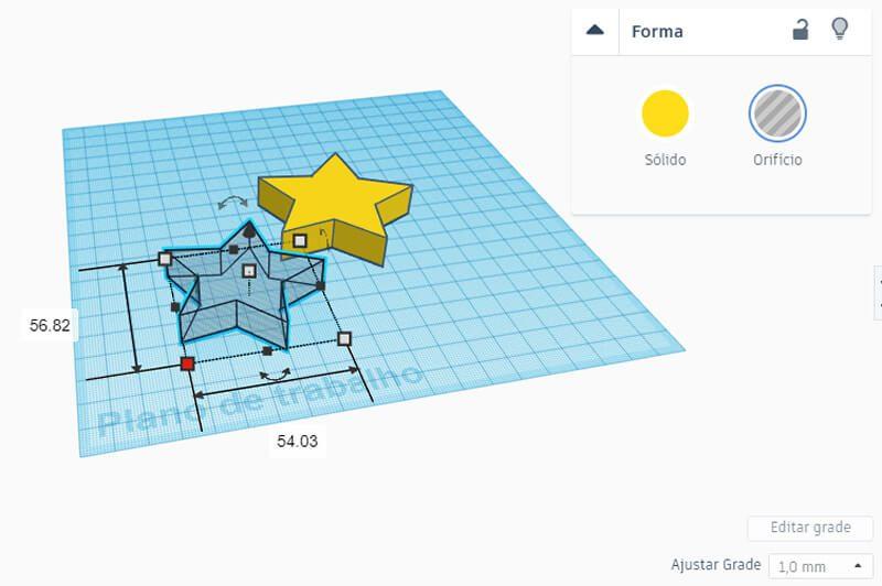 Redimensionando estrela tipo orifício para o Tinkercad