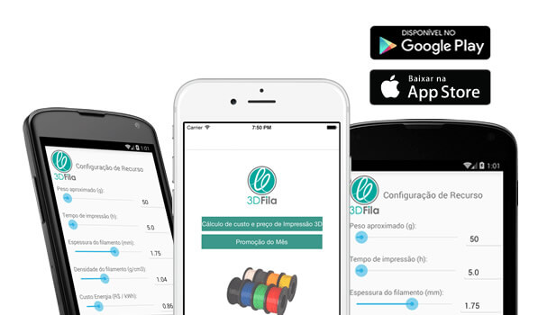 Imagem de 3 celulares smartphone demonstrando os app ou aplicativos da 3dfila