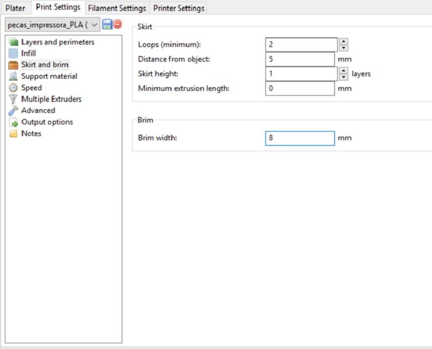 Configuração de Brim no Slic3r