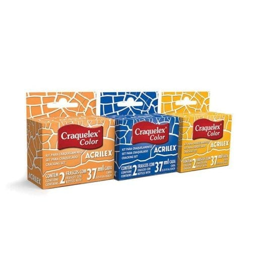 Demonstração de 3 caixas do produto craquelex da marca acrilex, com as cores marrom, azul e laranja