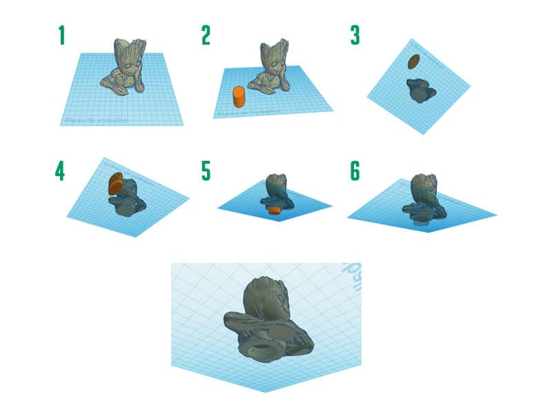 Esta imagem demonstra 6 passos em como criar uma peça 3d oca para aumentar a velocidade de impressão