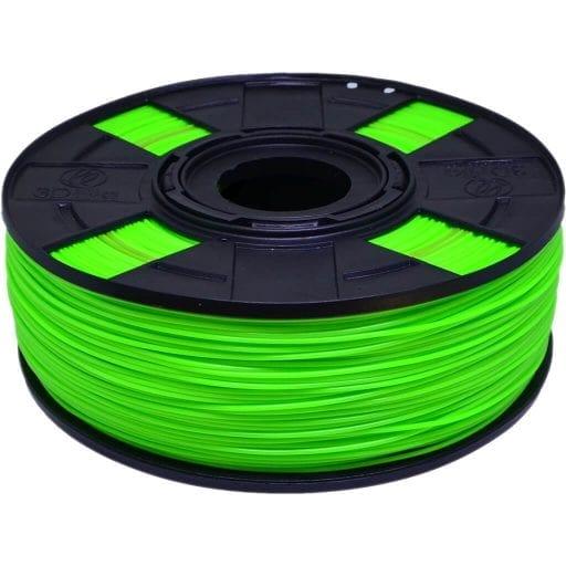 Foto de carretel de filamento PLA com variação de cor verde e vermelho
