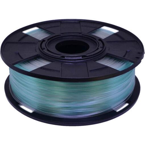Foto de carretel de filamento PLA com variação de cor transparente e azul