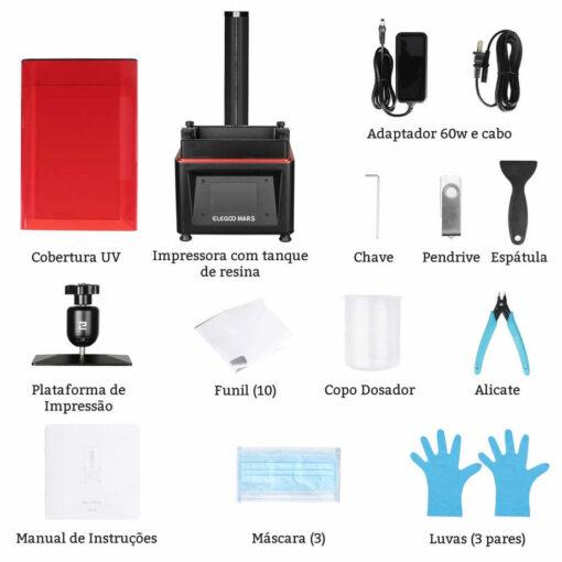 Componentes que fazem parte da Impressora Elegoo 3D de Resina
