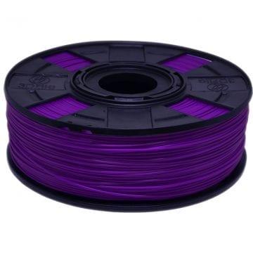 Foto do carretel de filamento PLA ROXO Basic da 3D Fila. Carretel em cor preta feito de material reciclado