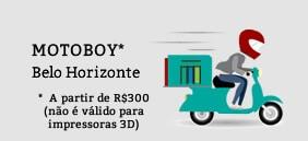 Imagem com desenho de um motoboy pilotando uma moto e frases informando sobre o frete grátis acima de R$300,00