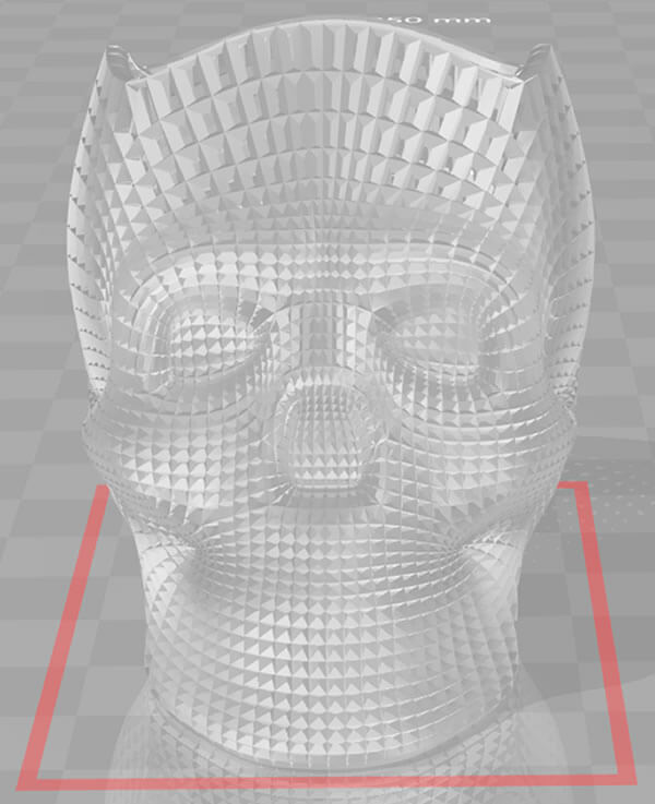 screenshot do programa 3d builder identificando o modelo 3d com problema, mostrando uma marcação vermelha na base da peça do porta lapis de caveira