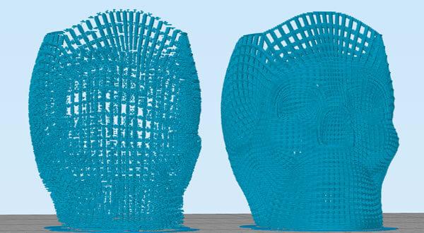 screenshot da tela do software 3d builder mostrando o antes e o depois do modelo 3d corrigido os modelos estão em cor azul