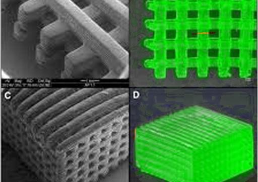 4 fotos demonstrando processo de impressão 3d com fotoiniciadores e visão de microscópio