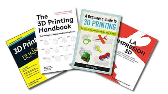 foto com imagem de quatro livros sobre impressoras 3d