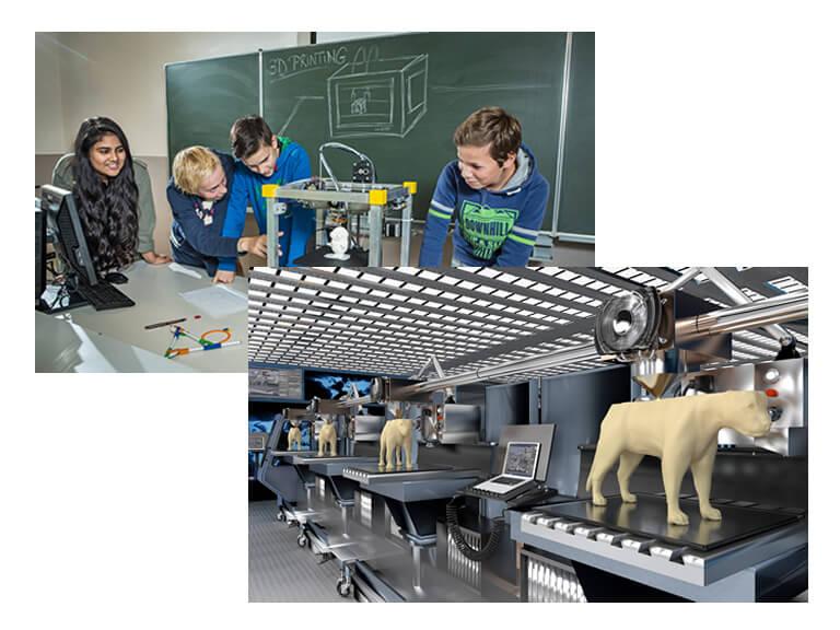 Local de trabalho de uma impressora 3D