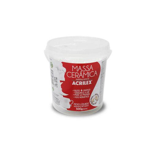 Foto do pote branco de massa cerâmica da marca acrilex - rótulo vermelho