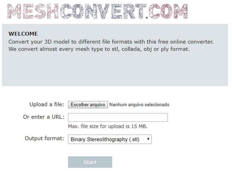 Sistema online de conversão de objetos 3d em stl para impressoras 3d