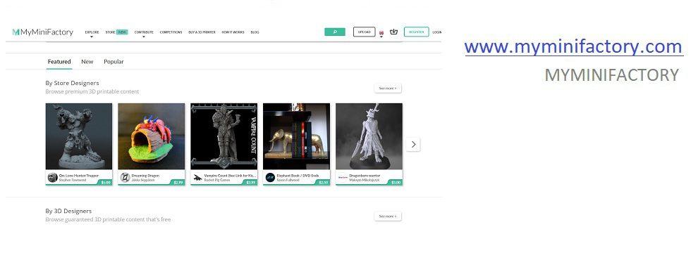 imagem do site myminifactory para modelos 3d