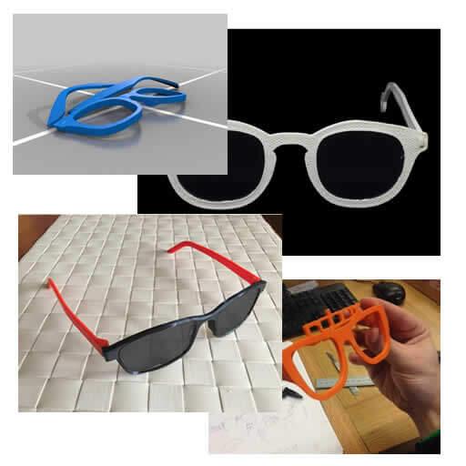 Quatro fotos demonstrando óculos de sol que podem ser impressos com impressora 3d