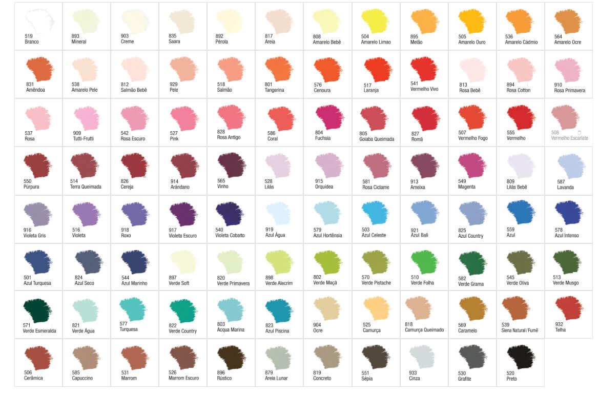 Paleta de Cores Tinta Acrílica Fosca Acrilex