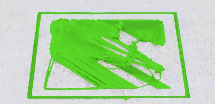 impressão 3d com filamento 3d da primeira camada imperfeita