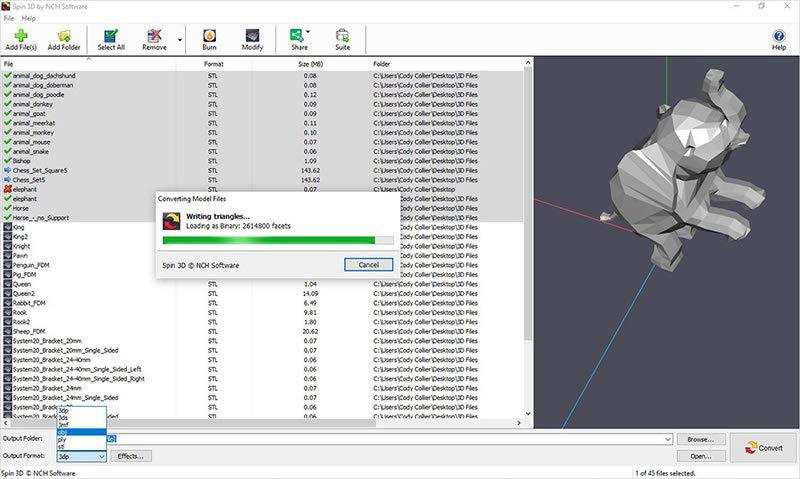 Programa Spin 3D em execução de conversão de arquivos 3d para impressoras 3d