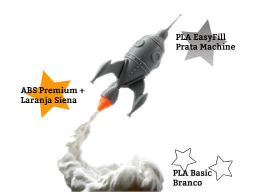 foto de um foguete da gcreate impresso em pla prata easyfill abs laraja siena e pla branco basic é uma montagemcom as 3 peças e os descritivos