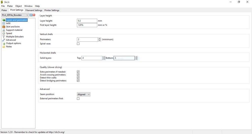Perfil de Impressão PLA 3D Fila - Sistema Bowden e Hotend All-metal - Parâmetros 1