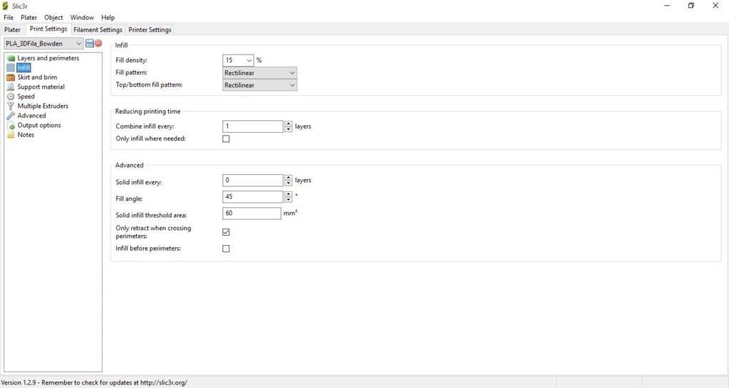 Perfil de Impressão PLA 3D Fila - Sistema Bowden e Hotend All-metal - Parâmetros 2