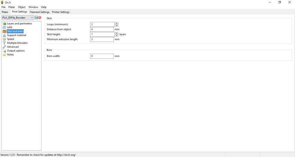 Perfil de Impressão PLA 3D Fila - Sistema Bowden e Hotend All-metal - Parâmetros 4