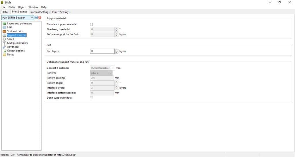 Perfil de Impressão PLA 3D Fila - Sistema Bowden e Hotend All-metal - Parâmetros 3