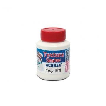 pote branco com tampa vermelha do produto textura snow da marca acrilex de 120ml